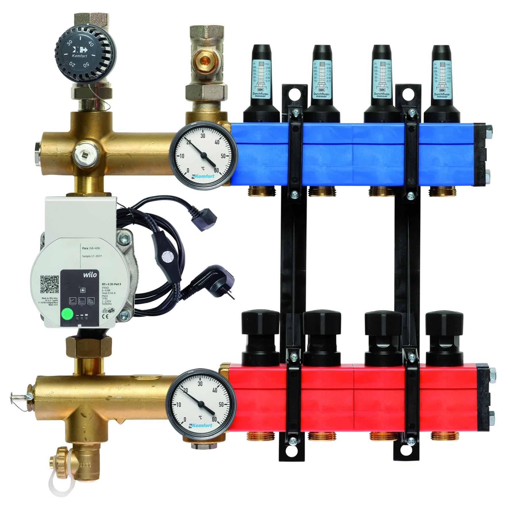 Komfort vloerverwarmingsverdeler b.a. E-pomp, 10-145 l/u.,4 gr.