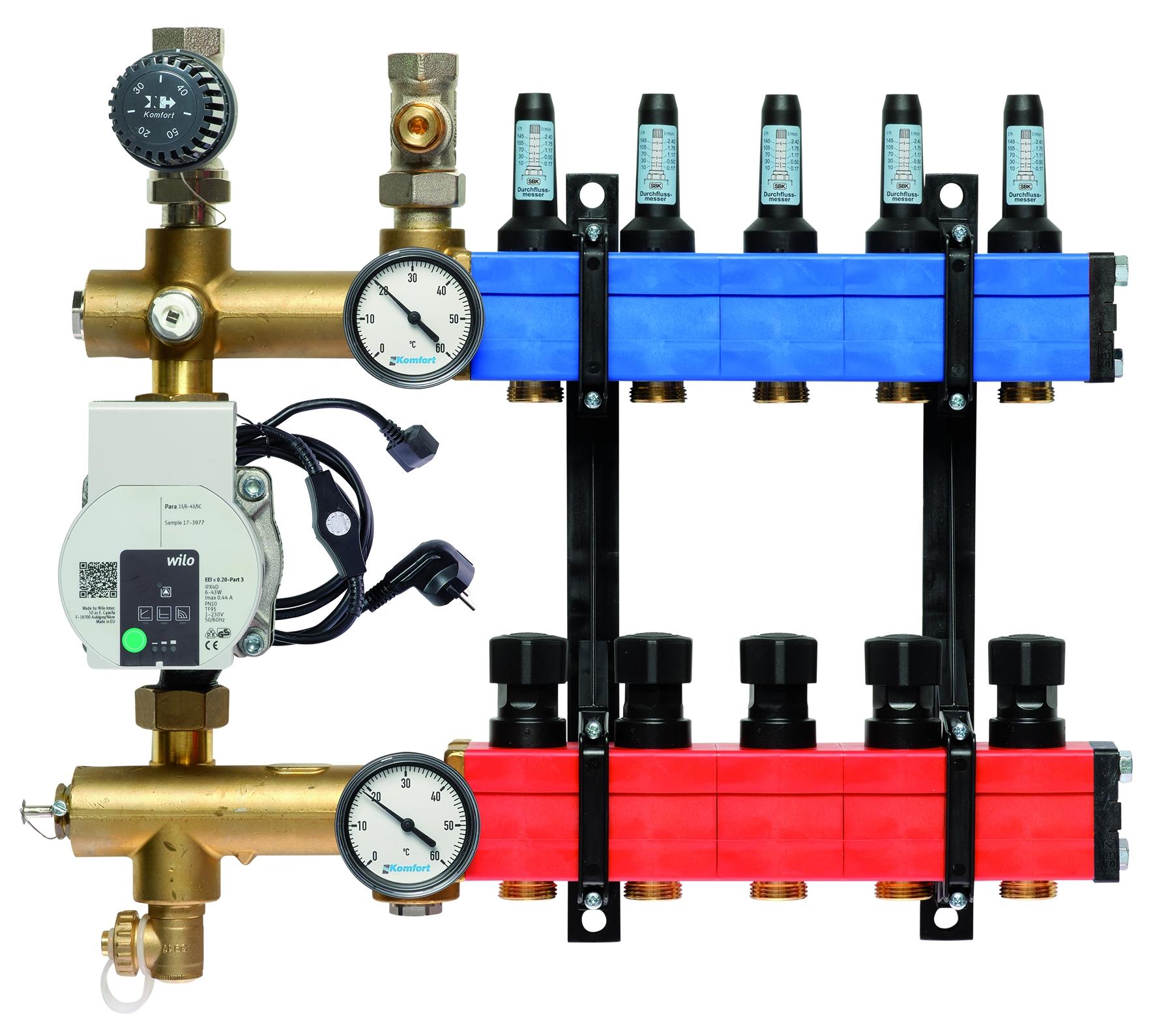 Komfort vloerverwarmingsverdeler b.a. E-pomp, 10-145 l/u.,5 gr.